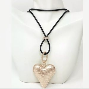 Rose Gold Tone Puffed Heart Pendant Necklace